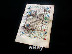 1430 Original Latin Medieval Illuminated Manuscript on Vellum rare Book of Hours