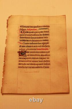 14th-cent Latin decorated medieval manuscript GOLD cap Book of hours psalm RARE