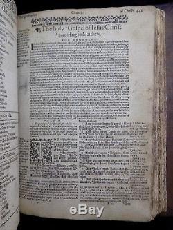 1613/1614 Geneva Bible Antique Breeches Rare Fine Leather Family Holy Kjv Vgc