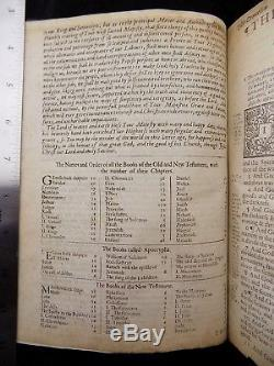 1673 / 1683 King James Holy Bible Complete Antique Rare Fine Leather Binding Vgc