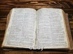 1679 HOLY BIBLE 2nd Oxford English Printing ANTIQUE leather THEATER old RARE