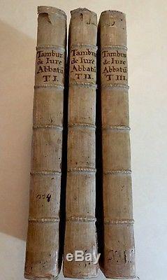 1691 Lot 3 Antique Fabulous Rare Books De Jure Abbatum By Ascanio Temburinio