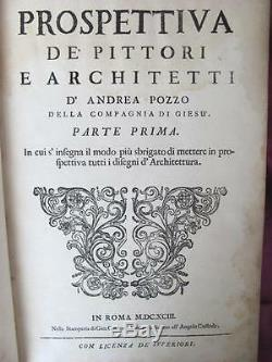 1693 1st Edition Perspectiva Pictorum Et Architectorum By Andrea Putei Xtr. Rare