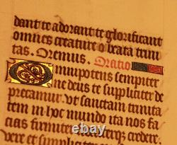 16th-cent Latin decorated medieval manuscript GOLD caps Book of hours psalm RARE
