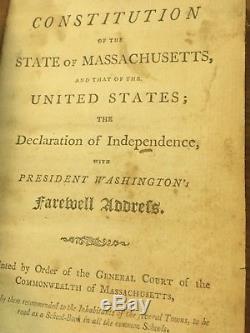 1805 DECLARATION of INDEPENDENCE Massachusetts US CONSTITUTION Antique Book RARE