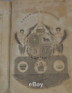 1826 Masonic Freemasonry book early Hieroglyphic Monitor leather antique rare