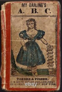 1840 HAND-COLORED Children's ALPHABET BOOK Rare Accordian-Style Antique Vintage
