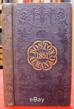 1851 BOSTON ALMANAC Fold Out Map MINIATURE Rare ANTIQUE Calendar VTG Journal