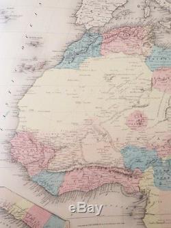 1856 First Edition Colton World Atlas Folio Hand Colored Map Antique 1st Ed Rare