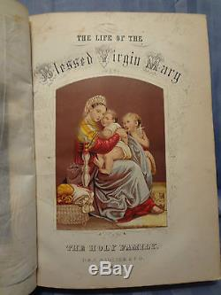 1865 Antique Rare Life Virgin Mary Illustrated Windows Engravings