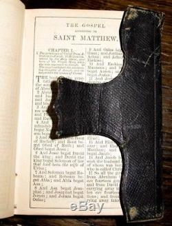 1866 HOLY BIBLE Leather POCKET American ANTIQUE Family CIVIL WAR Haversack RARE