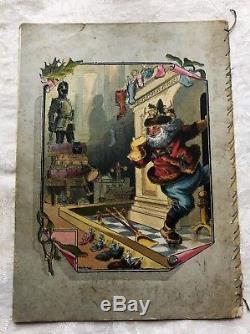 1881 AROUND THE WORLD SANTA CLAUS MCLOUGHLIN BROS Antique Children's Book RARE