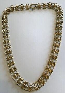 1890's Rare Antique Victorian Gold 12k Tri Gold Book Chain Necklace M8