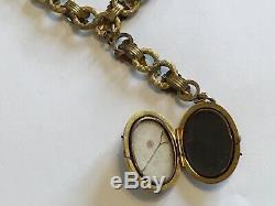 1890's Rare Antique Victorian Gold 12k Tri Gold Book Chain Pendant Necklace M8
