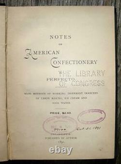 1891 American Confectionery Candy Ice Cream Soda Fountain Antique Cookbook Rare