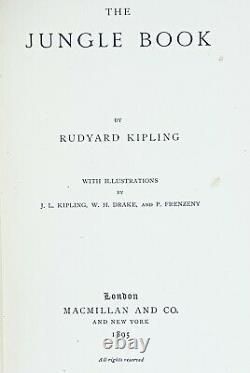 1895 uk edition THE FIRST JUNGLE BOOK Antique RARE Rudyard KIPLING Disney MOWGLI