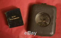 1896 Antique Rare miniature new testament bible David Brice Holder & Magnifier