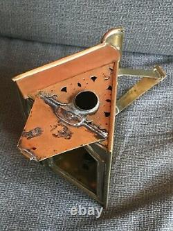 18th century folding Lantern, Brass, Book form RARE Candle Holder