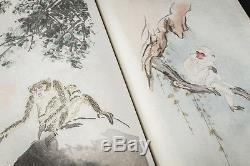 1952 RARE CHINESE BOOKS Qi Baishi Zhang Da 200 PAINTINGS WOODCUTS IN 2 VOLUMENS
