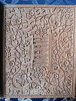 19c Antique Sandalwood Anglo Indian Deep Carving Book Cover RARE