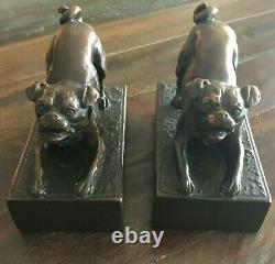 (2) Antique Vintage Bronze Book Ends Bookends Pug Dogs or Bulldogs Rare Unusual