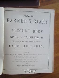 3 Rare Antique Hand Written Farmers Diaries & Account Books 1892 To 1896
