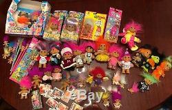 45 Vintage TROLL Dolls Lot. RARE 80s 90s RUSS DAM Game & Sticker Book