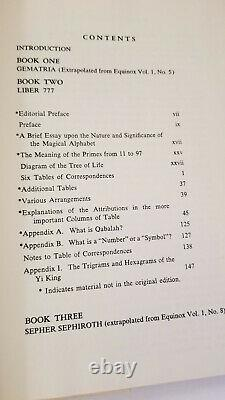 777 and Other Qabalistic Writings of Aleister Crowley Rare Occult Book 1982 ed