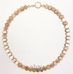 ANTIQUE Victorian 9k Gold Fronts Heart Lock Book Chain Necklace MINT & RARE