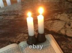 Aafa Early 1800's Double Tin Book Light Candle Holder Rare Early Lighting