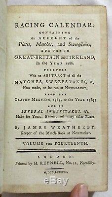 Antique 1786 HORSE RACING CALENDAR Equestrian SPORTING Veterinary Medicine RARE