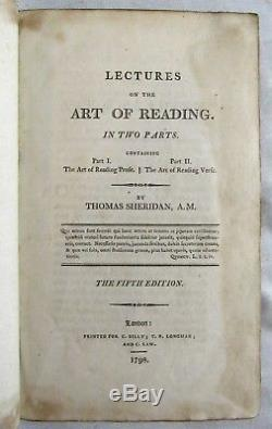 Antique 1798 LECTURES ON THE ART OF READING Leather Bound THOMAS SHERIDAN Rare