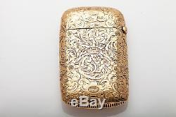 Antique 1920s ART NOUVEAU 14k Yellow Gold MATCH BOOK CASE 21g RARE Signed