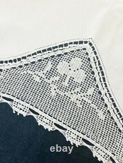 Antique 1928 Rare White Filet Crochet Mary Card Anemone Bridge Tablecloth Book 7