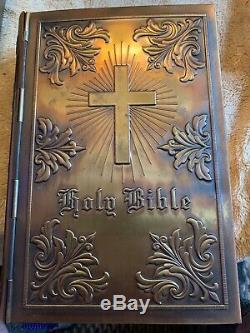 Antique 1949 Kjv Collins, Sons & Co. Holy Bible Rare Inside Brass Hingedcover