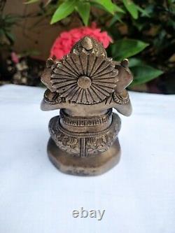 Antique Ganesh Brass Statue Book Reading Ganesha Hindu Home Decor Puja Idol Rare