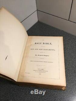 Antique Leather 1852 Holy Bible by American Bible Society RARE Book Very Large