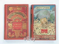 Antique Rare Lot 2 Book Jules Verne Voyages Extraordinaires Helice Vapeur 1923