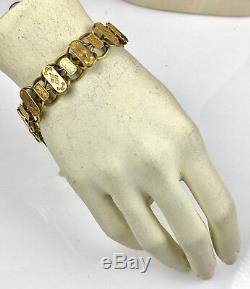 Antique Victorian 18K Rose Gold Book Chain Bracelet Wide Unisex RARE EB902