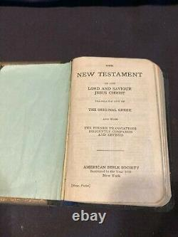 Antique WWI Pocket Bible Metal Cover White House Roosevelt Issued UNIQUE/RARE