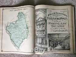 Atlas Map of Lancaster County PA 1875 Everts & Stewart Pennsylvania History RARE