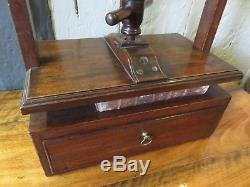 Beautiful Rare Early Antique Table Top Adjustable Book Press With Drawer