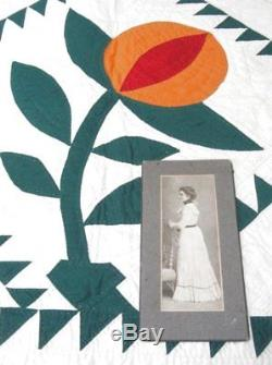 Book Worthy! C 1900s Pomegranate APPLIQUE Quilt Antique Sawtooth Cheddar RARE