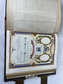 C1881 LEATHER antique Family Holy Bible CLASPS beautiful Illustrations Rare HTF