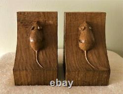 Collectable Rare Vintage Robert Thompson Mouseman Hand Carved Pair of Book Ends