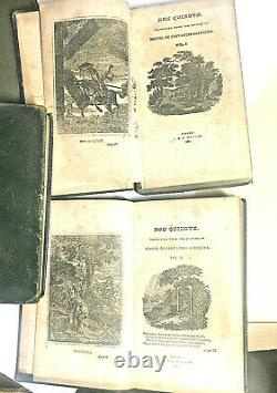 DON QUIXOTE 1828 Cervantes ANTIQUE LEATHER BINDING, Complete 4 Vol SET VERY RARE