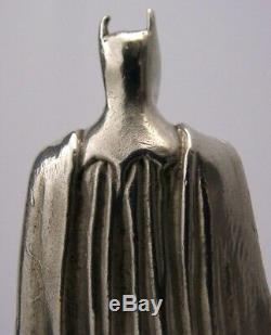 EXTREMELY RARE SOLID SILVER BATMAN STATUE LONDON 1989 DC SUPERHERO 3.25inch 153g