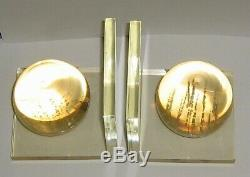 FAB! VINTAGE ITALIAN MID CENTURY MODERN LUCITE SPHERE BOOK ENDS 60's RARE