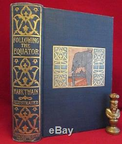 FOLLOWING THE EQUATOR Mark Twain 1ST ED First State 1897 ILLUS Rare ANTIQUE Book
