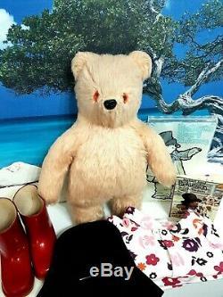 Fabulous Early Paddington Stumpy Bear In Rare New Flowered Pj's + Vintage Book